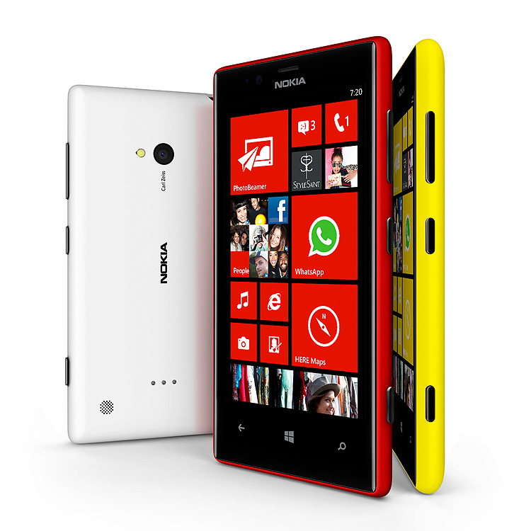 Lumia phones in white, red and yellow, positioned upright next to each other