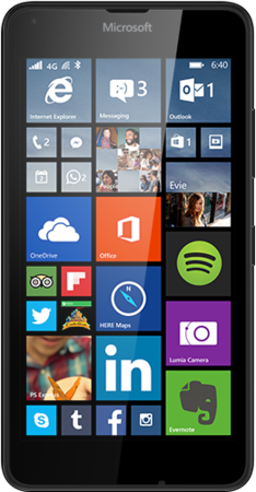 Black Lumia 640 facing forward with start screen on display