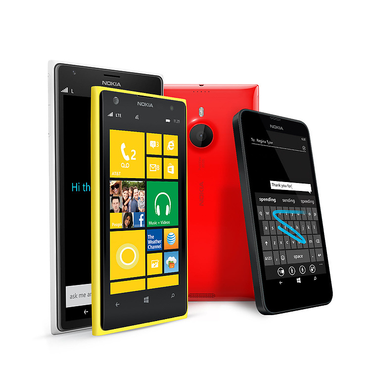Several Lumia phone models in colors ranging from yellow and blackto red and white