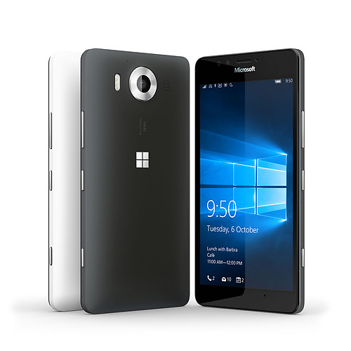 A white and black Lumia 950 phones facing backwards next to another black Lumia 950 with Windows 10 lock screen