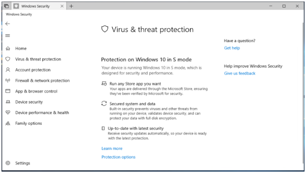 Windows Security now has specific Virus and Threat Protection settings