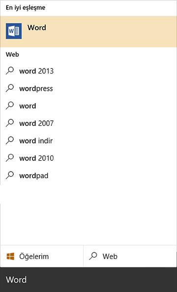 Uygulamalar, belgeler ve dosyaları hızlı bir şekilde bulmak için arama kutusunu kullanın