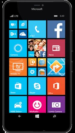 Black Lumia 640 XL facing forward with start screen on display
