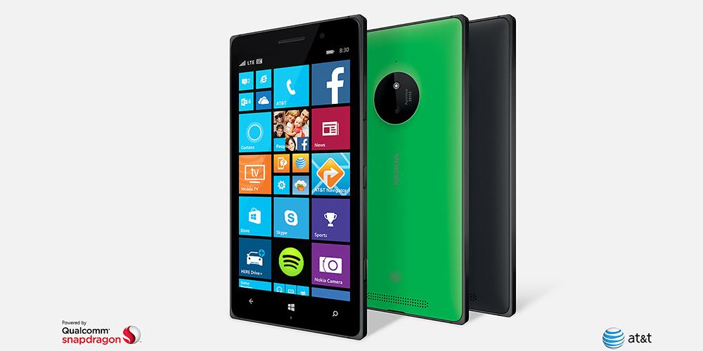 Three Lumia 830 phones, two facing backward to show camera and one facing forward to show start screen