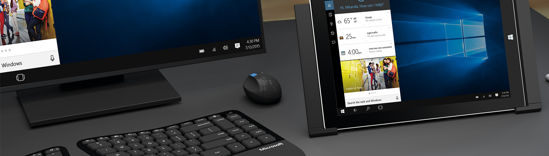 Promotional image of Microsoft desktop, keyboard, mouse, and tablet