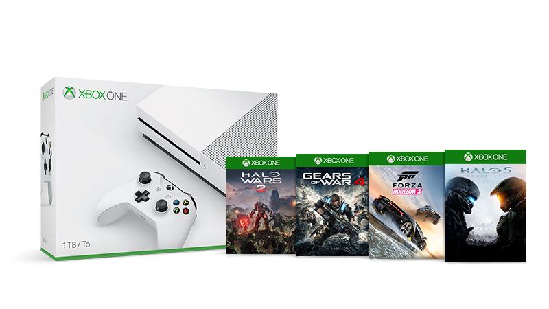 o Kjøp en Xbox One S 1TB og motta et spesialtilbud på et gratis spill – velg fra Forza Horizon 3, Halo Wars 2, Gears of War 4 eller Halo5