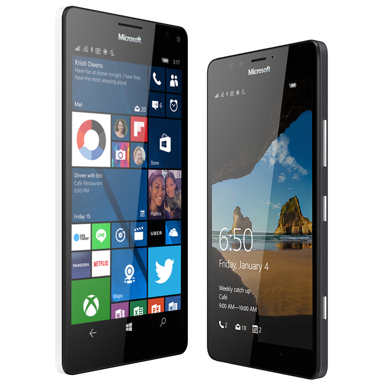 A white Lumia 950 XL next to a black Lumia 950 showing start screen and lock screen