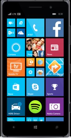Black Lumia 830 facing forward with start screen on display