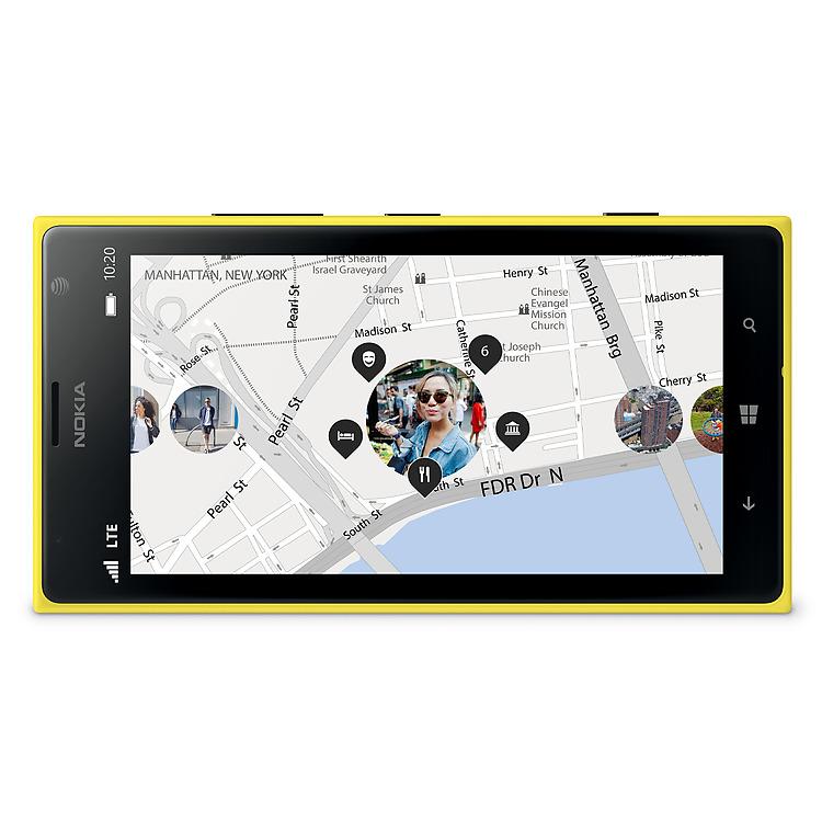 Yellow Lumia 1520 with Lumia Storyteller app open