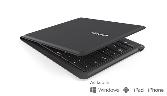 Microsoft universal foldable keyboard with text works with Windows, Android, iPad, iPhone