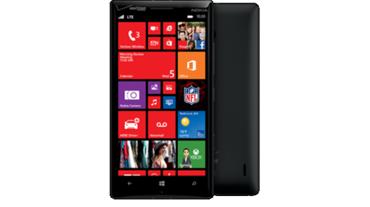 Black Lumia Icon as seen from the front and the back