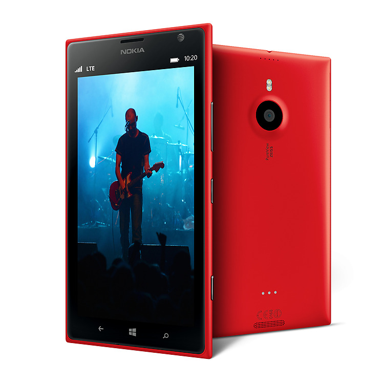 Two red Lumia 1520 phones, one facing front with video playback screen and the other facing backwards showing camera