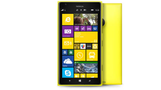 Yellow Lumia 1520 ase seen from the front and back