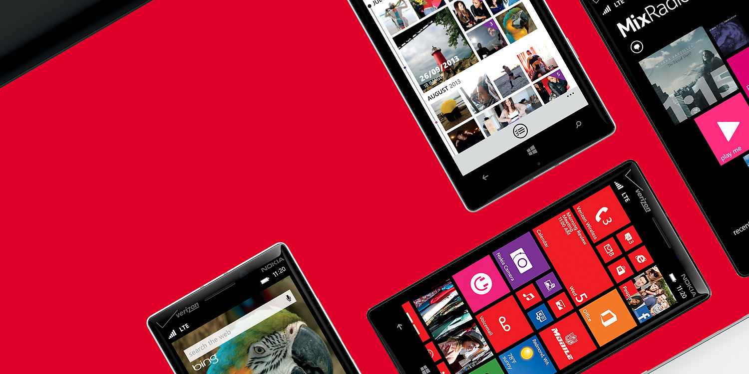 Several Lumia icons in dynamic positions on red background
