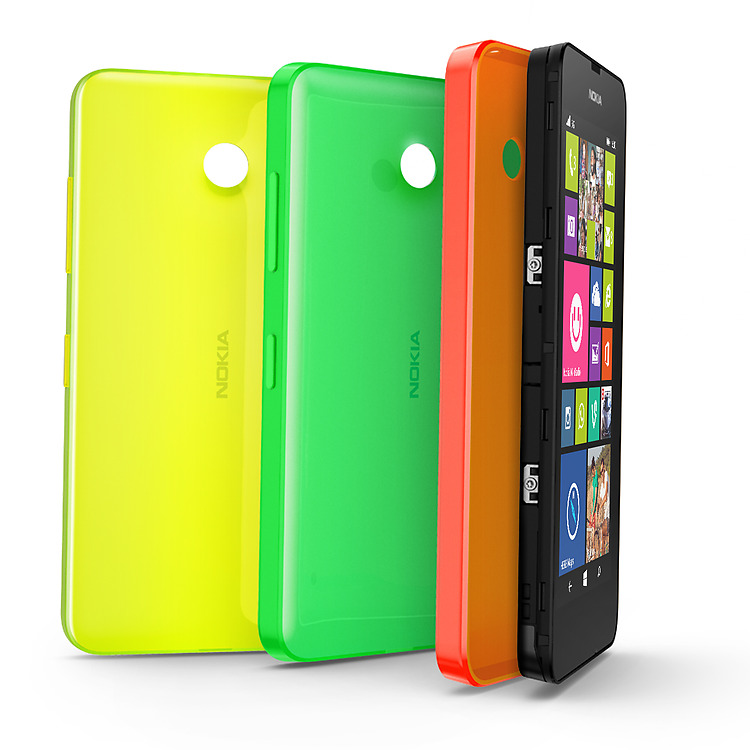 Three Nokia shells of different color set upright with a lumia phone slotting into the orange shell on the right