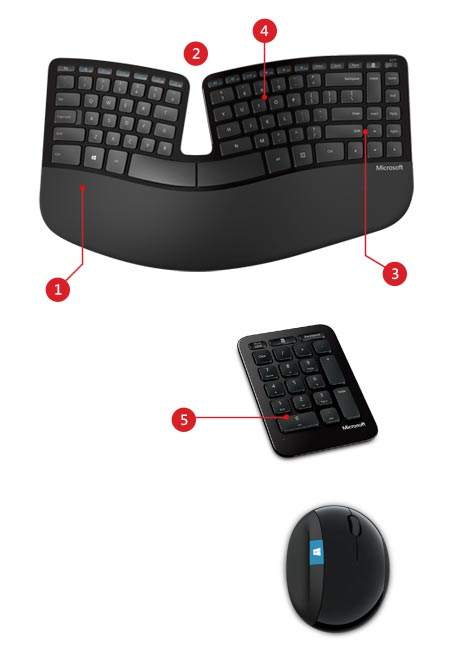Microsoft Sculpt Ergonomic Desktop features
