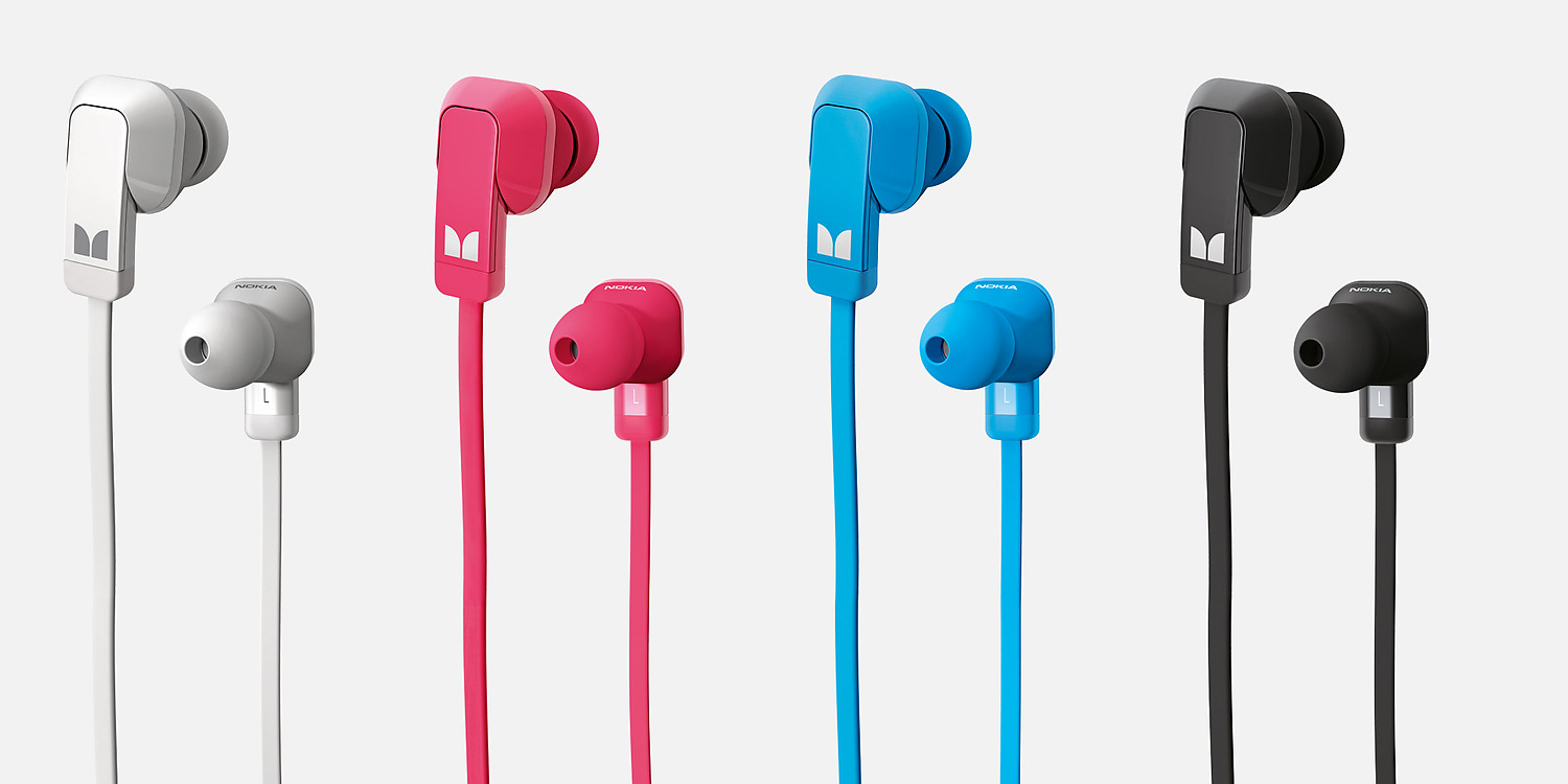 Four pairs of Nokia Purity Stereo Headset by Monster in red, blue, white and black