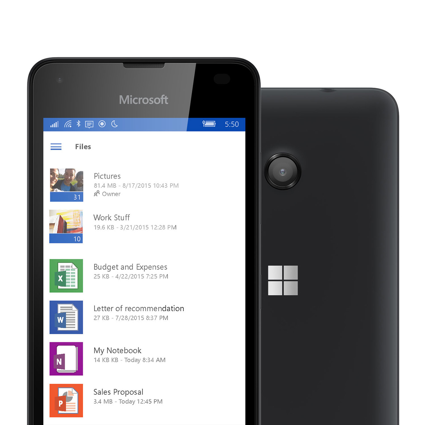Two black Lumia 550 phones with one facing backward showing camera and the other facing forward with Ondrive folder screen