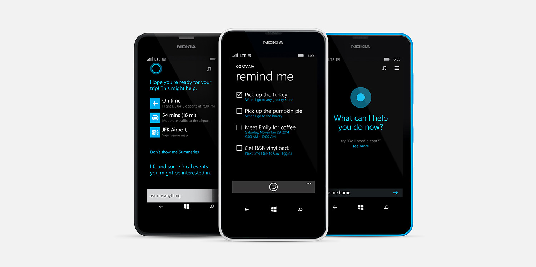 Three Lumia 635 phones with Cortana screens