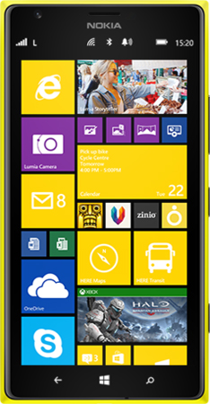 Yellow Lumia 1520 facing forward with start screen on display