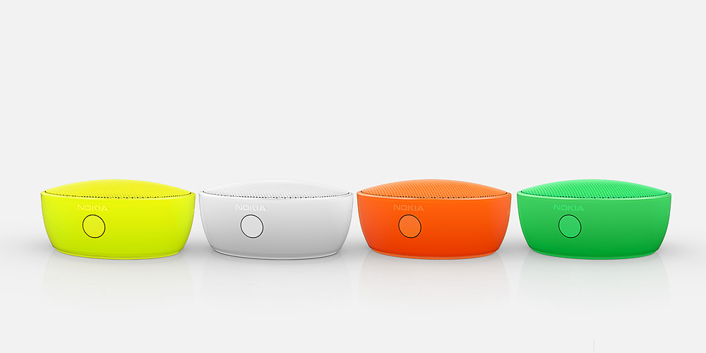 Four Nokia Portable Wireless Speakers side by side in colors of yellow, white, orange and green