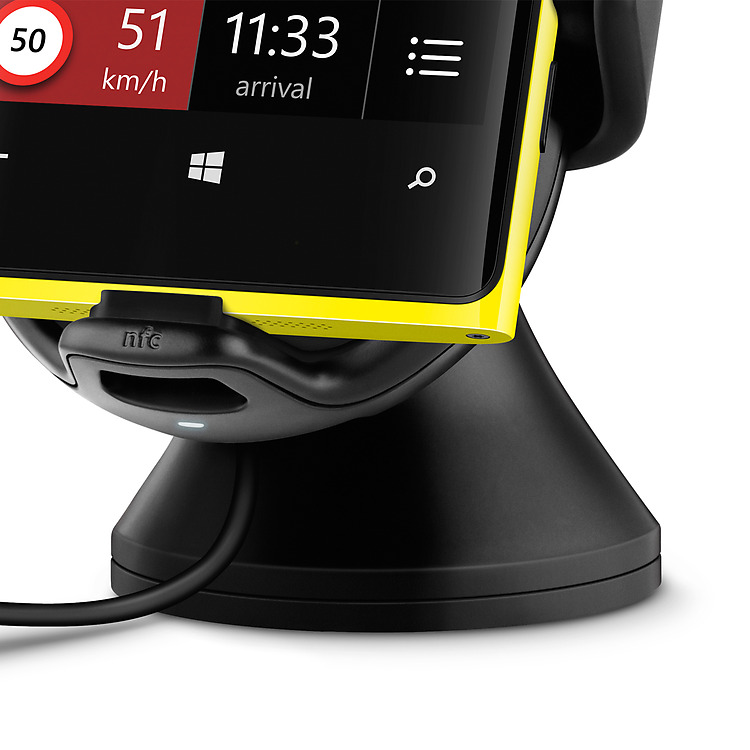 Close up of Nokia Wireless Charging Car Holder with Yellow Lumia phone attached