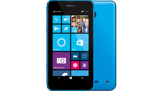 Blue Lumia 635 as seen from the front and the back