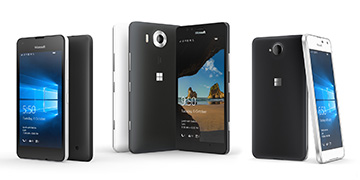 Latest Lumia devices in black and white colors, positioned in groups with Windows lock screens
