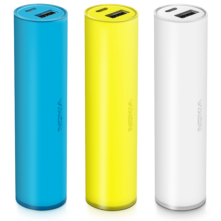 Three Nokia Universal Portable USB Chargers side by side in colors of blue, yellow and white
