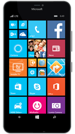 White Lumia 640 XL facing forward with start screen on display