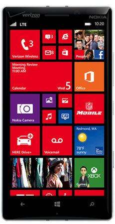 White Lumia Icon facing forward with start screen on display