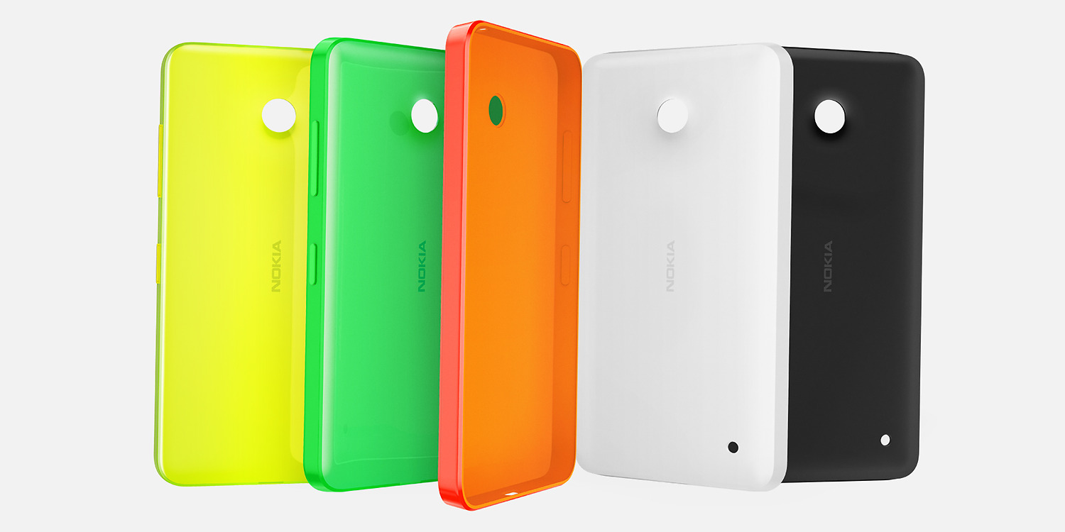 Color options for the Nokia Shell for Lumia 630 and Lumia 635 in colors of yellow, green, orange, white and black