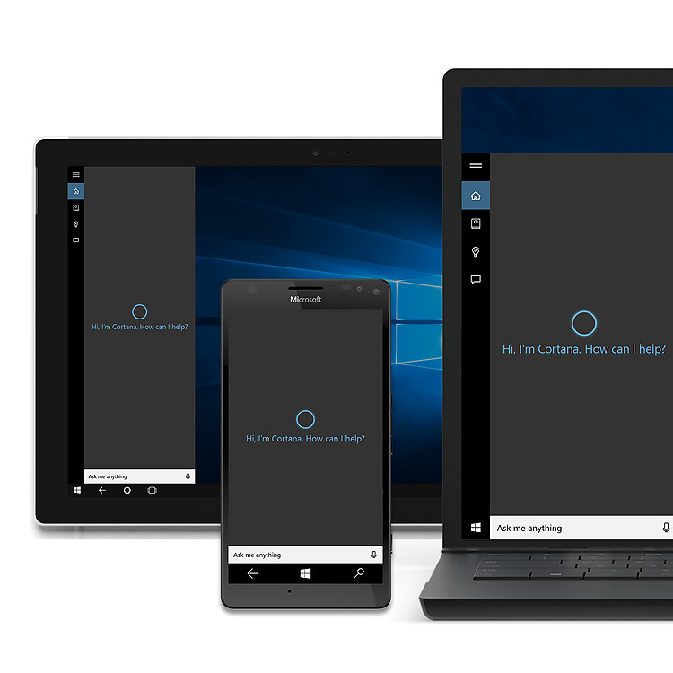 Tablet, laptop and phone screen, all showing Cortana on screens