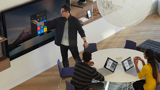 Surface Hub with Windows 10 screen