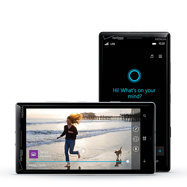 Two Lumia icon phones facing forward with video playback screen and Cortana screen
