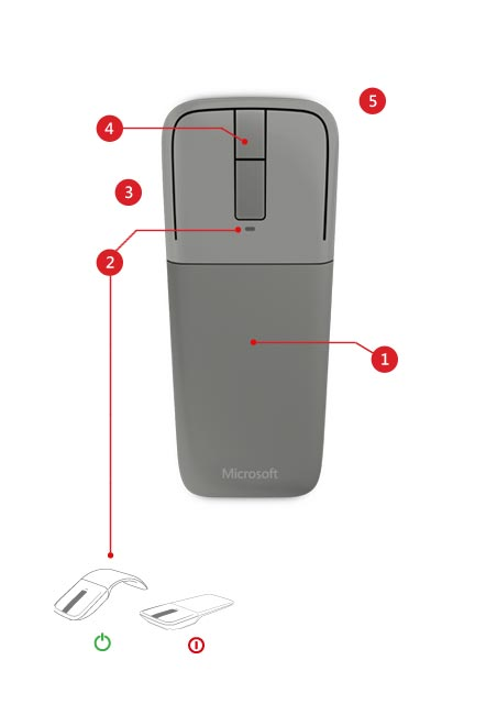 Microsoft Arc Touch Bluetooth Mouse features