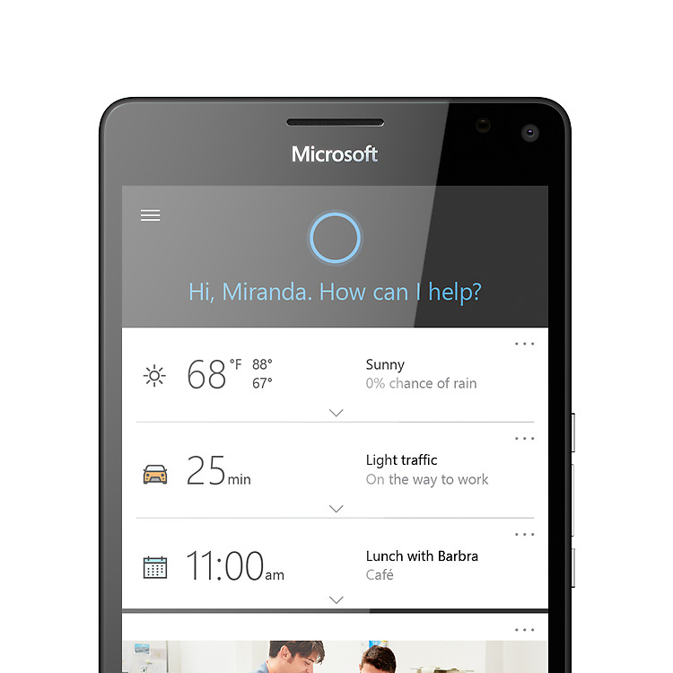 Cortana displayed on a Lumia 950 screen