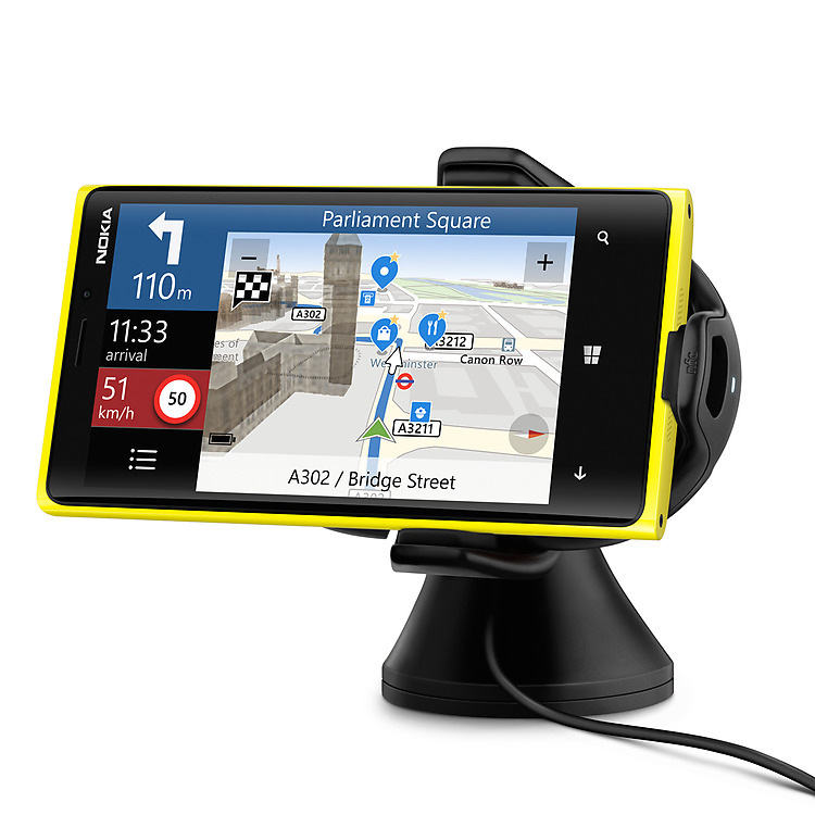 Nokia Wireless Charging Car Holder holding a yellow Lumia phone in horizontal orientation