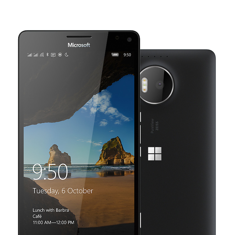 Two black Lumia 950 XL phones with one facing backward showing camera and one facing forward with Windows lock screen