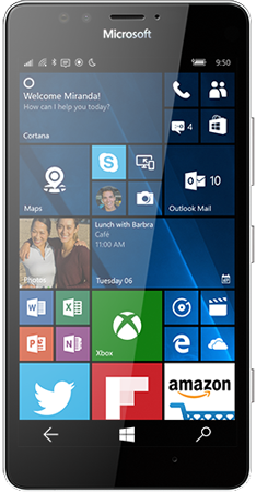 White Lumia 950 facing forward with start screen on display
